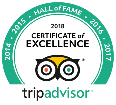 TripAdvisor Certificate of Excellence Hall of Fame 2018